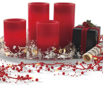 """Christmas Red Battery Operated Candle - 6""""H x 3"""" dia. traditional-holiday-decorations"""