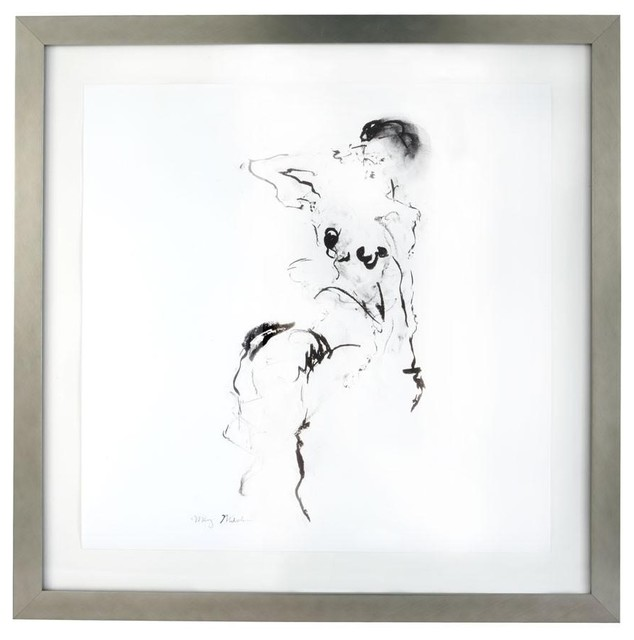 Lazy Susan Charcoal and Ink Nude with Silver Leaf Frame traditional-artwork