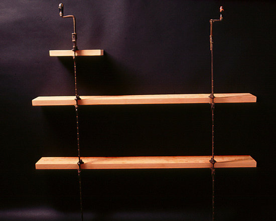 Clamp Shelf: Decommission Series #3 - These shelves are constructed of industrial bar clamps and stout douglas fir lumber.  The wood shelves are cantilevered from the mouths of the clamping mechanism creating a counterbalanced composition when located along a wall surface.