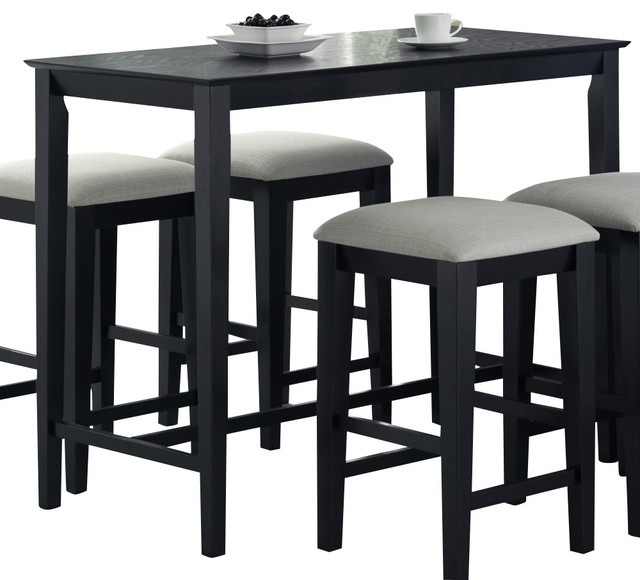 Monarch Specialties 1919 Rectangular Counter Height Dining Table In Black Grain Traditional