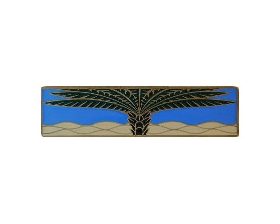 """Inviting Home - Horizontal Royal Palm Pull (antique brass-periwinkle) - Hand-cast Horizontal Royal Palm Pull in antique brass-periwinkle finish; 4""""W x 1""""H; Product Specification: Made in the USA. Fine-art foundry hand-pours and hand finished hardware knobs and pulls using Old World methods. Lifetime guaranteed against flaws in craftsmanship. Exceptional clarity of details and depth of relief. All knobs and pulls are hand cast from solid fine pewter or solid bronze. The term antique refers to special methods of treating metal so there is contrast between relief and recessed areas. Knobs and Pulls are lacquered to protect the finish."""