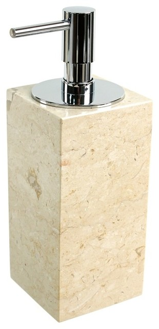 Beige marble soap dispenser contemporary bathroom for Beige bathroom set