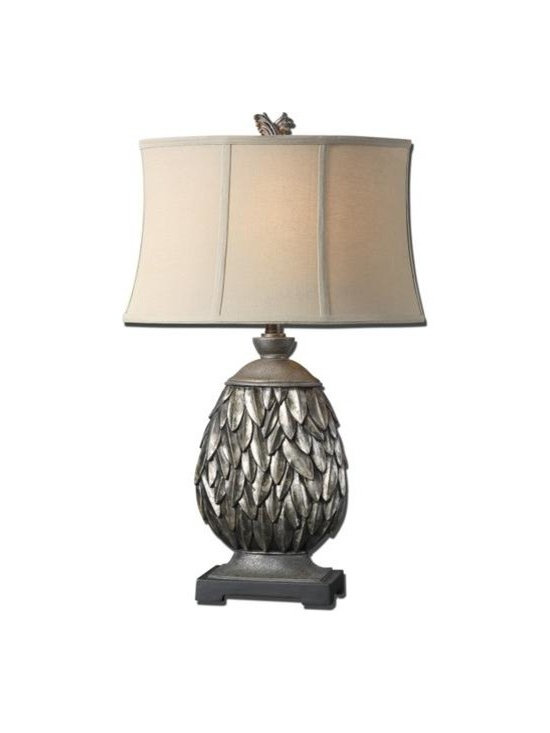 Uttermost Folium - Heavily antiqued silver leaf finish with burnished distressing and a dark gray wash. The oval semi drum shade is an off white linen fabric with light slubbing.