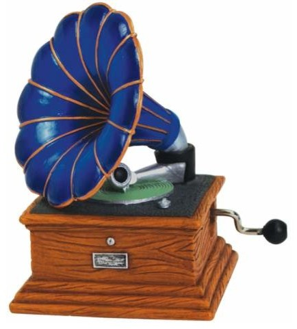 """3.5"""" Blue Musical Hand Crank with Gramophone Record Player Figurine eclectic-statues-and-figurines"""