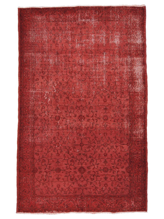Over-dyed Anatolian Vintage Rug - This piece is an Over-dyed Anatolian Vintage Rug created by first neutralizing the colors and then over-dying with red to achieve a contemporary effect and bring old hand-made rugs back to life. The result is almost like an abstract painting.