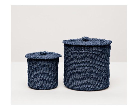 Chelston Canister Set - Talk about elevated coziness. The delicately woven abaca of our softly structured Chelston collection brings a welcome warmth to any bath. Choose from four versatile colors.
