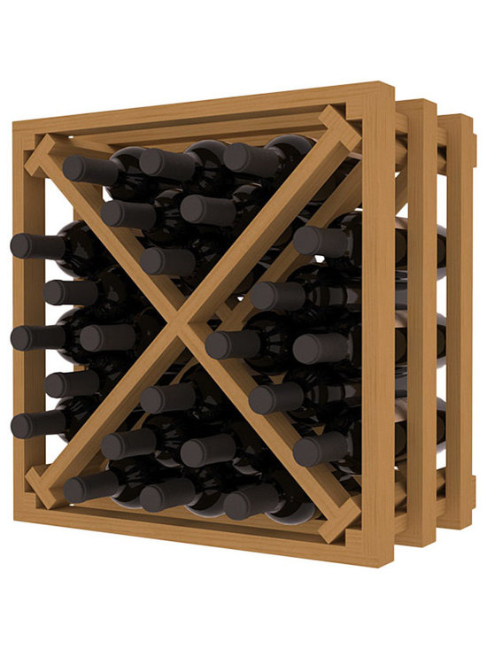 Lattice Stacking X Wine Cube in Pine with Oak Stain - Designed to stack one on top of the other for space-saving wine storage our stacking cubes are ideal for an expanding collection. Use as a stand alone rack in your kitchen or living space or pair with the 16-Bottle Cubicle Wine Rack and/or the Stemware Rack Cube for flexible storage.