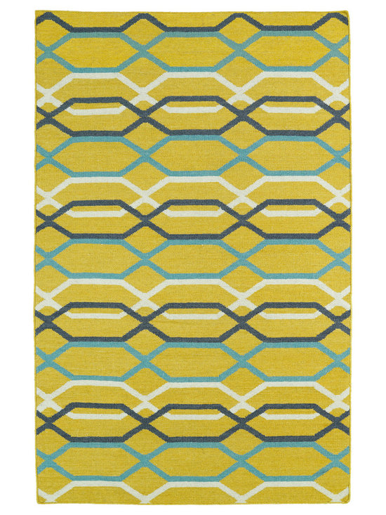 Kaleen - Kaleen Glam Collection GLA01-28 8' x 10' Yellow - The Glam collection puts the fab in fabulous! No matter if your decorating style is simplistic casual living or Hollywood chic, this collection has something for everyone! New and innovative techniques for a flatweave rug, this collection features beautiful ombre colorations and trendy geometric prints. Each rug is handmade in India of 100% wool and is 100% reversible for years of enjoyment and durability.