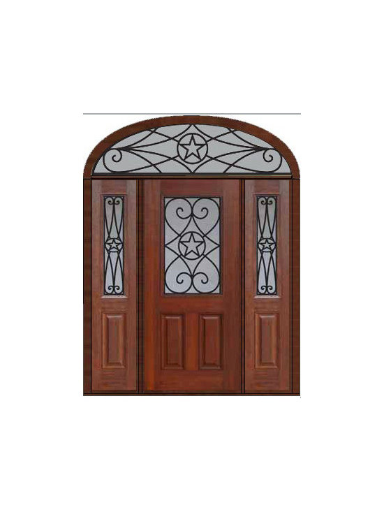 "Prehung Sidelites-Transom Door 80 Fiberglass Austin Texas Star - SKU#    MCT012WA_DFHAG1-2EAGBrand    GlassCraftDoor Type    ExteriorManufacturer Collection    1/2 Lite Entry DoorsDoor Model    AustinDoor Material    FiberglassWoodgrain    Veneer    Price    4655Door Size Options    32"" + 2( 14"")[5'-0""]  $036"" + 2( 14"")[5'-4""]  $036"" + 2( 12"")[5'-0""]  $0Core Type    Door Style    Texas StarDoor Lite Style    1/2 LiteDoor Panel Style    2 PanelHome Style Matching    Door Construction    Prehanging Options    PrehungPrehung Configuration    Door with Two Sidelites and Elliptical TransomDoor Thickness (Inches)    1.75Glass Thickness (Inches)    Glass Type    Double GlazedGlass Caming    Glass Features    Tempered glassGlass Style    Glass Texture    Glass Obscurity    Door Features    Door Approvals    Energy Star , TCEQ , Wind-load Rated , AMD , NFRC-IG , IRC , NFRC-Safety GlassDoor Finishes    Door Accessories    Weight (lbs)    698Crating Size    36"" (w)x 108"" (l)x 89"" (h)Lead Time    Slab Doors: 7 Business DaysPrehung:14 Business DaysPrefinished, PreHung:21 Business DaysWarranty    Five (5) years limited warranty for the Fiberglass FinishThree (3) years limited warranty for MasterGrain Door Panel"