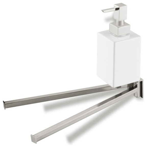 13 Inch Double Towel Bar with Ceramic Soap Dispenser, Satin Nickel contemporary-towel-bars-and-hooks