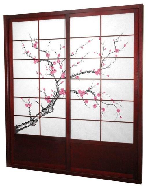 7 ft. Tall Cherry Blossom Shoji Sliding Door Kit - Rosewood traditional-interior-doors