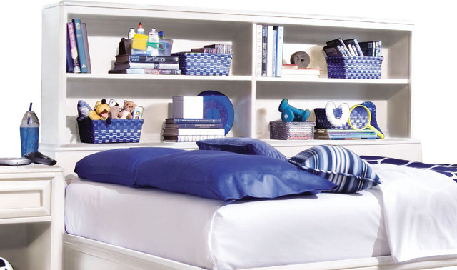 Lea Elite Reflections Bookcase Headboard in White traditional-kids-beds