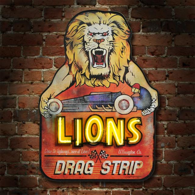 Lions Drag Strip - Rustic - Artwork - portland - by Route 66 Relics