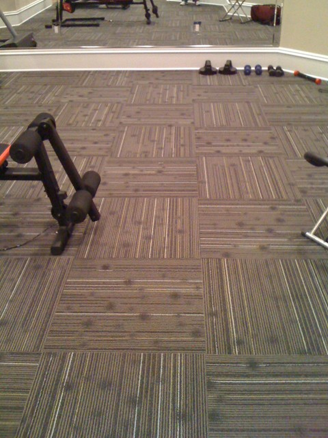 Home Gym With Commercial Carpet Squares Other Metro By