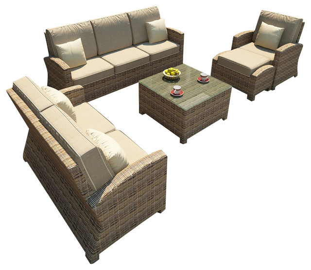 Cypress 6 Piece Outdoor Wicker Sofa Set, Spectrum Mushroom Cushions contemporary-patio-furniture-and-outdoor-furniture