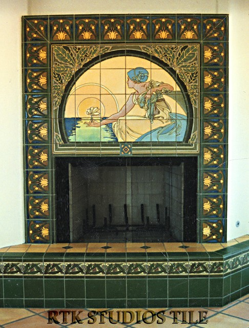 "Fireplace with ""Lady Setting Sun"" mural ""Collins"" and ""Eucalyptus"" tile decos traditional-living-room"