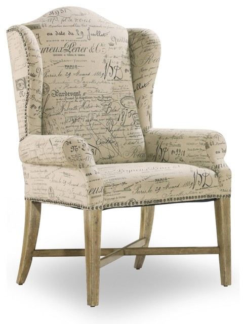 Wing back dining arm chair parchment document fabric for Contemporary dining room chairs with arms