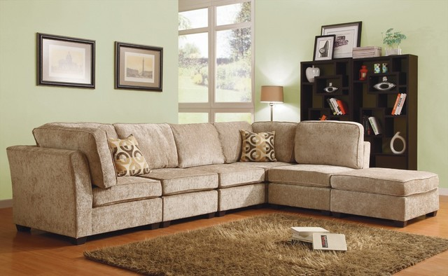 Brown Beige Chenille Upholstered Fabric Modular Sectional Sofa Living Room Set Traditional