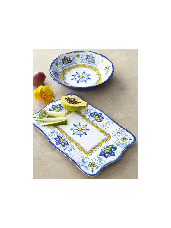 "Horchow - ""Amalfi"" Melamine Serveware - Carefree and casual, this melamine serveware features scalloped rims and floral patterns to bring spirited fun and sunny color to table settings. Dishwasher safe; do not microwave. Rectangular platter, 11.5""W x 17.5""L x 1""T. Salad bowl, 13.5""Dia. Im..."
