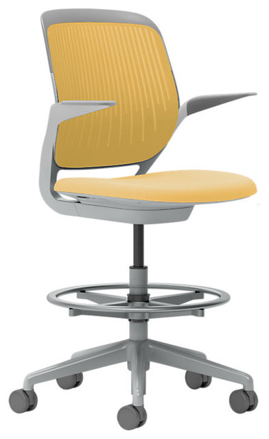 Steelcase Cobi Stool, Platinum Frame w/Arms & Soft Casters, Turmeric modern-office-chairs