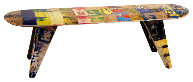 deckbench recycled skateboard bench eclectic indoor