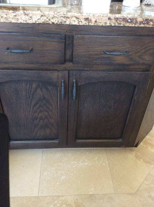 Dark stained wood cabinets the image for Can i stain my kitchen cabinets darker