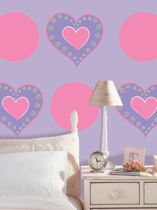 "Purple Heart-Flirt Dots Set of Wall Decals - Love is in the air, and soon to be on your walls. This pack contains four 13"" Heart of Hearts Purple WallPops and five 13"" Flirt Pink WallPops."