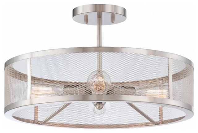 Mesh Industrial Semi Flush Mount Ceiling Light - Flush ...