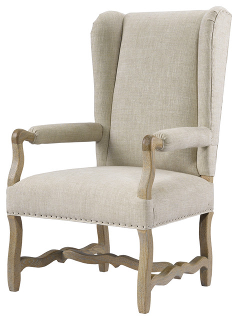French Wing Upholstered Armchair Linen Traditional Armchairs And Accent