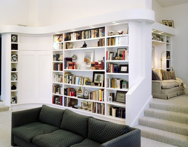 Custom Library Contemporary Display And Wall Shelves