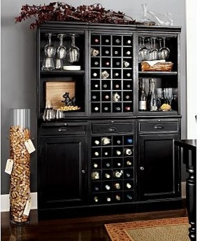 Wine Bar Wall Unit, 2 Cabinets/1 Wine Grid Base, 2 Open Hutches/1Wine ...