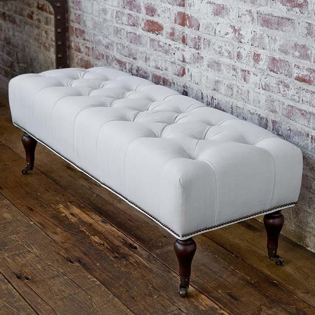 Regina andrew tufted white linen bench traditional upholstered benches by candelabra Bed benches