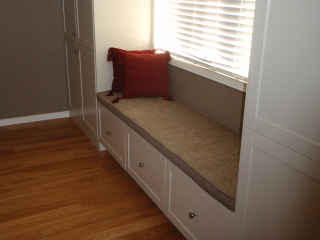 Built In Storage With Window Seat Traditional Storage
