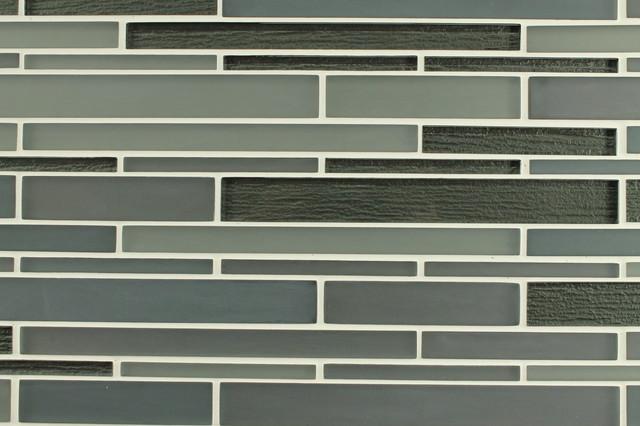 Bahia Smoke Glass Strip Mosaic Tiles, 10 Square Feet contemporary-mosaic-tile