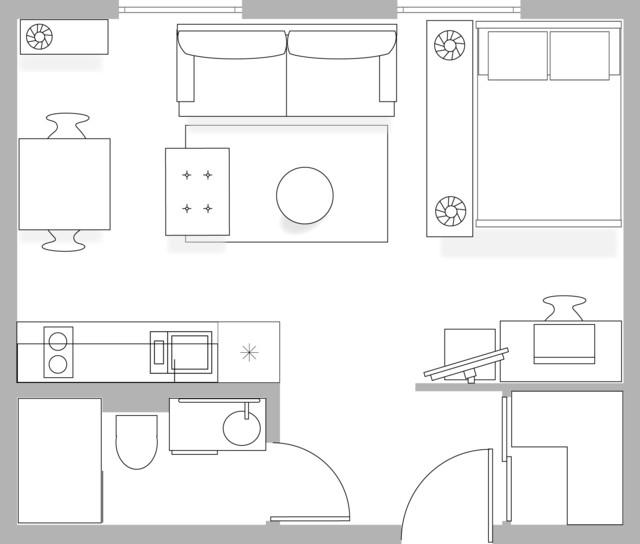 28m2 studio apartment floor plan other metro by passion decor - Plan studio studio m ...