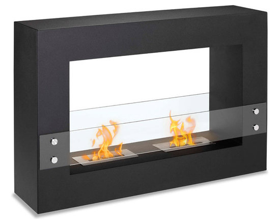 Moda Flame - Alcoi Contemporary  Indoor Outdoor Ethanol Fireplace - Black - Designed with a sleek steel powder coated rectangular frame, the Alcoi free standing ethanol contemporary fireplace asserts a bold look with dual burner and tempered glass sheets on either side.  Burner: 2 x 1.5 Liter Dual Layer Burner made of 430 Stainless Steel Dimensions: 47.2W x 31.49H x 11.8D Inches / 120W x 80H x 30D cm Weight: 66.1 lbs / 30 kg