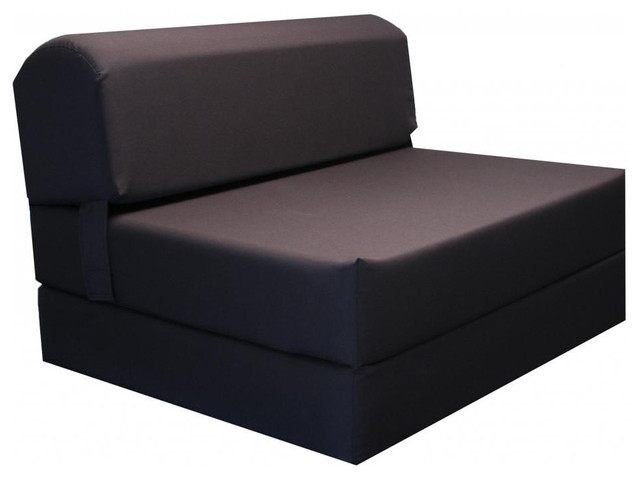 Brown tri fold foam chair bed mat contemporary for Tri fold futon sofa bed
