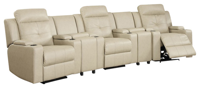 5 pc aviator collection sand color bonded leather theater for Sand leather sofa