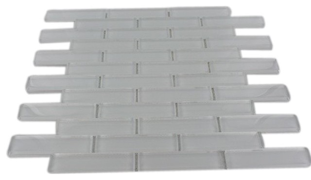 Loft Super White Big Brick Glass Tiles contemporary-tile