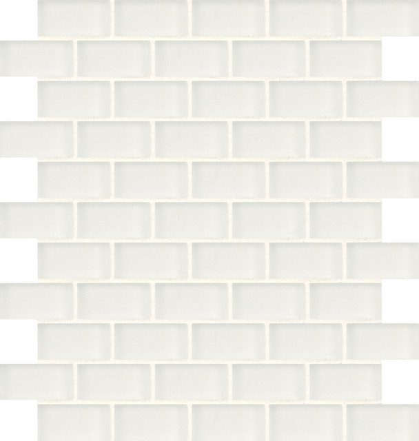 Artistic Tile Opera Glass Collection - Wolfgang White Satin Offset Brick Mosaic tile