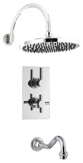 New Modern Shower System With Tec Valve, Chrome Sunflower Head & Bath Tub Filler modern-showers