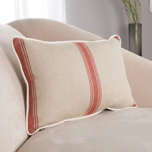 Linen Stripe Rectangle Linen Down Throw Pillow traditional-decorative-pillows