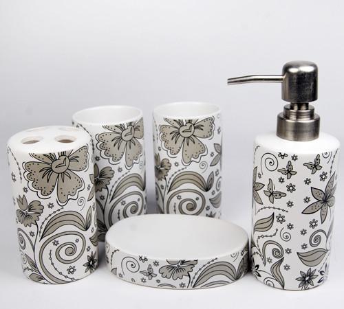 Lovely Flowers Ceramic Bath Accessory Set modern-shower-curtains