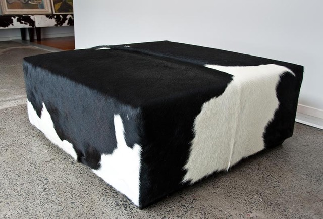 Square Ottoman In Black And White Cowhide Modern