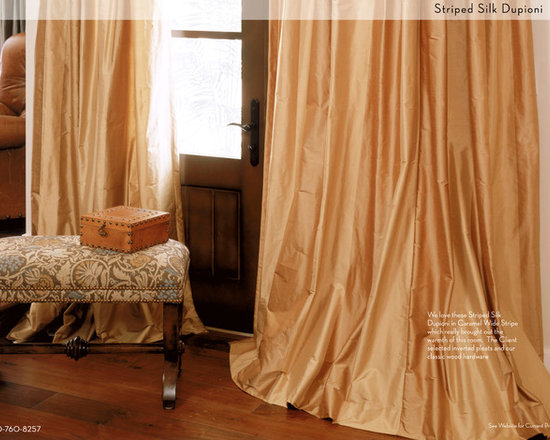 "DrapeStyle - Striped Silk Dupioni Drapery in Caramel - DrapeStyle has been designing and manufacturing the custom made drapery that House and Garden called ""Beautifully Made to Order"" since 2002.  Each drapery panel is hand-made to order in our California Studio and shipped throughout the US, Canada, Mexico, Australia, Europe and the UK."