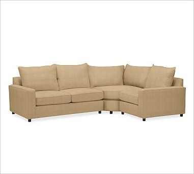 PB Comfort Square Arm Upholstered Left 3-Piece Wedge Sectional, Knife-Edge Cushi traditional-decorative-pillows