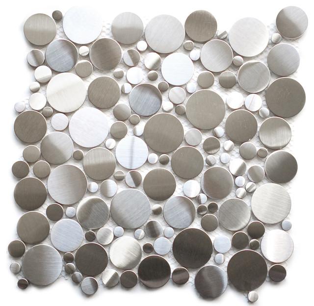 Random Circles Stainless Steel Tile, Sample contemporary-tile