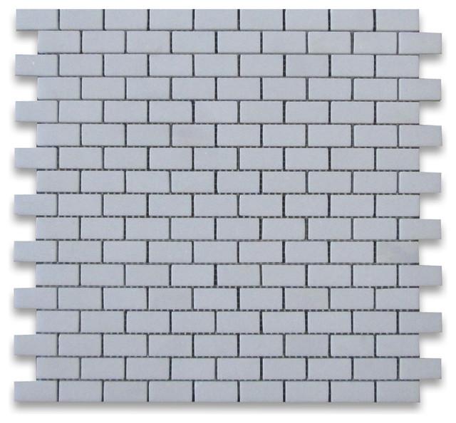 Thassos White 5/8 x 1 1/4 Subway Brick Mosaic Tile Polished - Marble from Greece tile