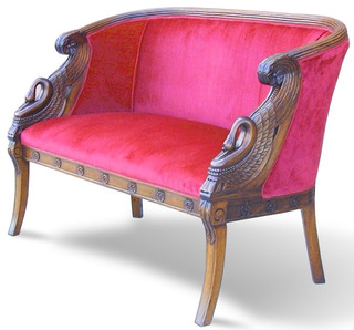Antique Two Seat Mahogany Sofa With Swan Carved Arms