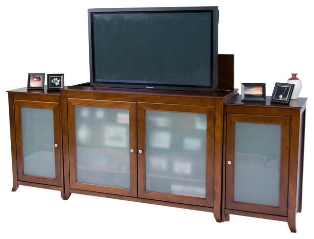 brookside mocha cherry tv lift cabinet with side cabinets. Black Bedroom Furniture Sets. Home Design Ideas